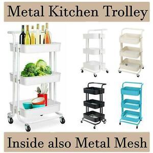 Kitchen Metal Trolley Salon Storage Cart Rack Organizer Wheel With Handle 3Tier