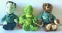 "Set 3 Universal Studios Monsters 1999 Plush Wolfman Frankenstein Halloween 9"""