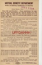 1914 MUTUAL BENEFIT DEPT Railway Conductors of America for J W DALLAS C U LELAND