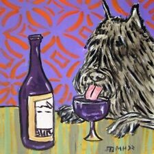 bouvier des flandres at the wine bar dog art tile coaster gift artwork modern