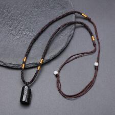 steel hand-made jewelry Crew neck black tourmaline pendant stone natural stone jewelry wood