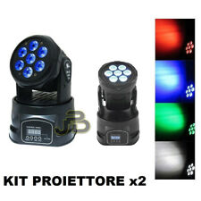 KIT PROIETTORE X2 LED RGB TESTA MOBILE ROTANTE EFFETTI DISCO 7 LED WASH DMX