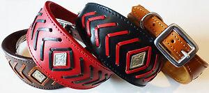 Leather Fishbone Stitch Saluki Collar Afghan Collar Whippet Greyhound Dog Collar