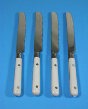 GINKGO LE PRIX WHITE 4PC STAINLESS STEEL KNIFE KNIVES FLATWARE LOT