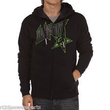 Unit Riders Rush Hoody Zip Up Jacket Black Lime Green Mens Small S