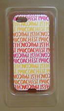 NIB $38 COACH Double Stripe Scarf Print Case for APPLE IPHONE 5 Berry 64698B