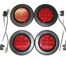 "(4) 2.5"" LED Truck Trailer RV Marker Clearance Lights Red + Grommets + Pigtails"