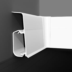 Fussleisten QUADRO 55mm Sockelleiste PVC Zubehör Kabelkanal Fußleisten SPAREN
