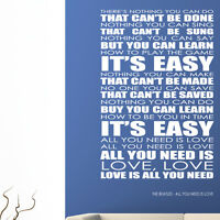 The Beatles wall art sticker all you need is love decal music lyrics quote l2
