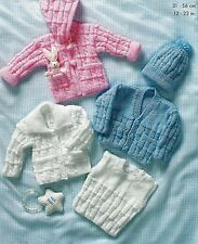 1435 Baby Boy Girl DK Jackets Cardigans & Hat Vintage Knitting Pattern 12-22""