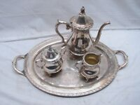 Vintage Wallace Silver Plate Coffee/Tea Service Set Tea Pot Sugar Creamer Tray
