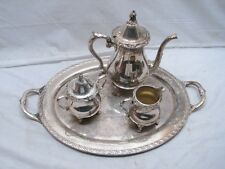 Vintage Wallace Silver Plate Coffee/Tea Service Set Tea Pot Sugar Creamer Tray