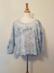 ZARA Mesh Blouse Top, Textured, Baby Blue, Size L GUC