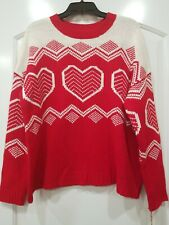True Craft Junior XL Sweater With Hearts on front and sleeves.