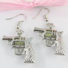 Glow in the Dark Revolver Hand Gun Cage Dangle Hook Earrings 50mm
