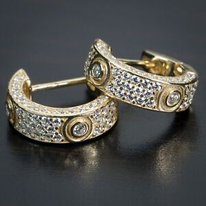 Vermeil 925 Sterling Silver Fully Iced Gold CZ Mens Small Huggie Hoop Earrings