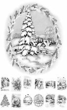 """Adult Grayscale Coloring Book (24 cards 4.5""""x6.5"""") Christmas Winter FLONZ507"""
