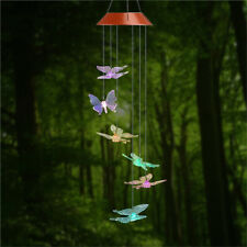 Butterfly Led Color-Changing Power Solar Wind Chimes Yard Home Garden Decor Us