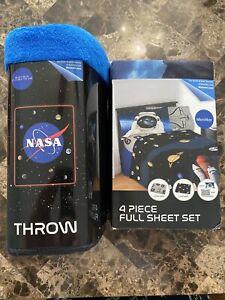 NASA Sheet Set, Kids Bedding, Space Time Rocket, 4-Piece Full Size With Blanket
