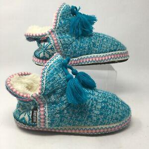 Mukluks Womens 8-9 Fair Isle Tassel Slipper Booties Blue Knitted Fur Ankle Top