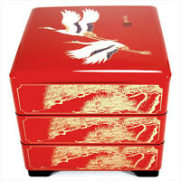 Japanese Lacquer Stack Bento Box Lunch Container 3-Tiers Red Crane Made in Japan