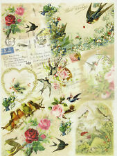 Papel De Arroz Vintage Birds Flower Para Decoupage Decopatch Scrapbook Craft Hoja