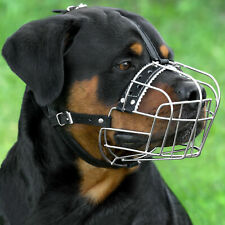 Rottweiler Metal Wire Basket Dog Muzzle Adjustable Leather Straps Bullmastiff