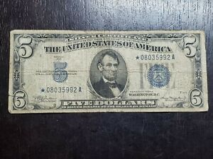 Series of 1934 A $5 Blue Seal Silver Certificate * Star Note