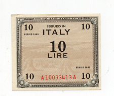 1943 ITALY 10 LIRA MILITARY CERTIFICATE  >>>>>GREAT PIECE OF HISTORY