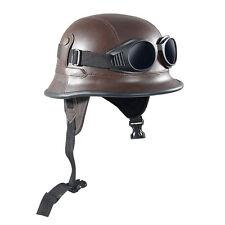 Brown Retro Vintage Leather Motorcycle Half Open Face Helmet Goggle Army-Style