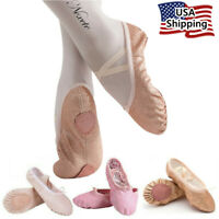 Nexete Leather Ballet Shoes Slippers Split Sole Flats For Toddler Girl Boy Kid