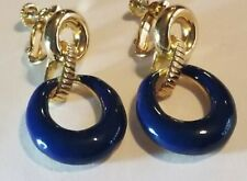 Jackie Kennedy Blue Gold-Toned Screw Back Earrings From JBK Collection