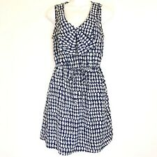 BeBop Sz M Women's Blue White Printed Scoop Neck Stretch Waist Dress