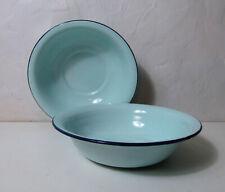 2 bassines en acier émaillé vert bleu mint vintage TBE