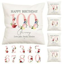 Personalised Birthday Water Colour Flower Pillow Cover 30th 40th 50th Any Age