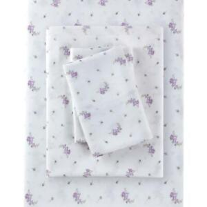 Rachel Ashwell Simply Shabby Chic Queen Lavender Calico Sheet Set Polyester