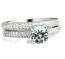 Women's 0.75 Carat Lab Diamond Wedding Bridal Engagement Two Ring Set Size 6 R41