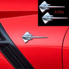 2x OEM Corvette Stingray Mako Shark Fender Emblem 11-17 C7 Silverado Gm Chrome