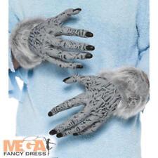 Grey Hairy Werewolf Furry Hands Halloween Gloves Fancy Dress Costume Accessory