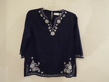 Alfred Dunner Blue Cotton Starflowers and Paisley Tunic White Embroidery Size 12