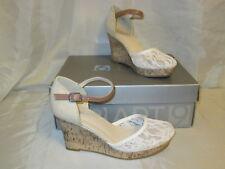 Apt 9 Mimosa White Lace Platform Cork Wedge High Heels Sandals Shoes Sz 6.5 NIB