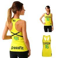 Womens Reebok CrossFit Carson Training Fitness Running Racerback Tank Top Yellow