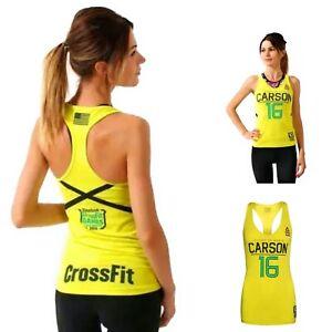 Reebok Women's CrossFit Carson Training Athletic Gym Racerback Tank Top Yellow