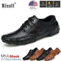 Mens Genuine Leather Casual Antiskid Work Shoes Slip On Driving Loafers Moccasin