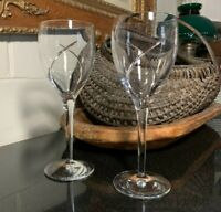 """2 Waterford Crystal Siren 9 1/2"""" Curve Cut Water Goblets Etch Marked - Excellent"""