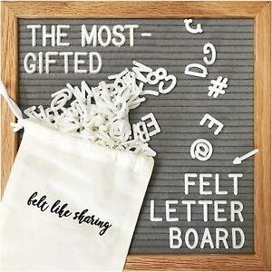 Gray Felt Letter Board 10x10 Inches, includes 300 White piece letters