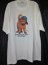 Bob Harrison Cat Art AROUND HERE, THE CATS ARE IN CHARGE! Cotton T-Shirt XXL