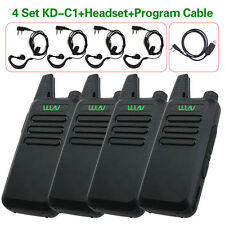 4x Mini Wln Kd-C1 5W Portable Walkie Talkie Uhf 400-470Mhz Radios+Program Cable