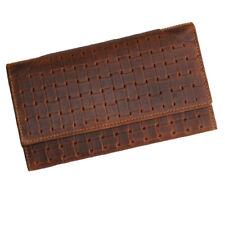 Damen Portemonnaie - Geldbörse CLEMATIS aus braunem Bio-Woven Leder - HANDMADE