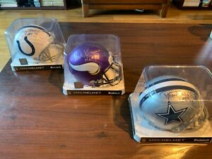 HOF Randy White, Paul Krause, Lenny Moore Signed Auto Inscribed Mini Helmet Lot!
